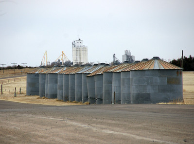 Grain bins along road between Horace and Tribune