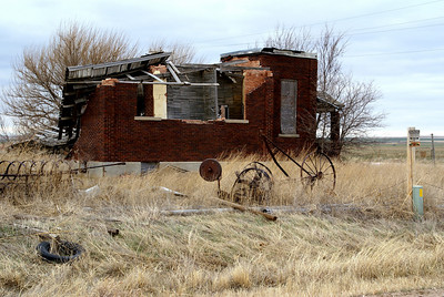 Abandoned building at Orwell historic site - southeast Hodgeman County