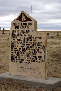 The Lords Prayer stone monument in Kidderville Cemetery