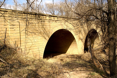 Stoecker double stone arch bridge over Cottonwood Creek - northern Hodgeman County