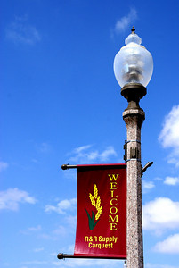 Street Light and Welcome banner in Jetmore