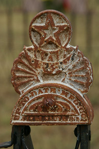 Elegant cap on post of family plot at Soldier Creek Cemetery near Belvidere