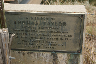 Memorial plaque to Thomas Taylor, a pioneer cattleman, on the bridge over Medicine Lodge River just northeast of Belivdere