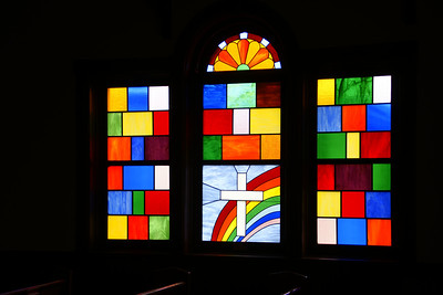 Stained glass windows on Richfield United Methodist Church