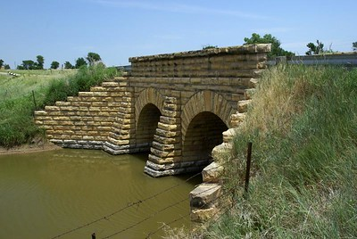 Double masonry arch bridge south of Bazine