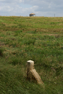 Post rock corner fence post and grain bin - northern Rush County