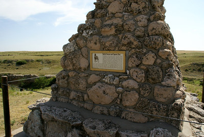 Monument to Battle Canyon and Squaw's Den historic Indian battle site near Lake Scott