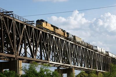 UP train crossing Samson bridge over the Cimmaron River