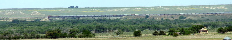 UP train crossing Samson bridge over Cimmaron River (seen from about 4 miles away)
