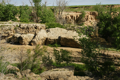 Rocks and trees along Bear Creek near Manter Dam