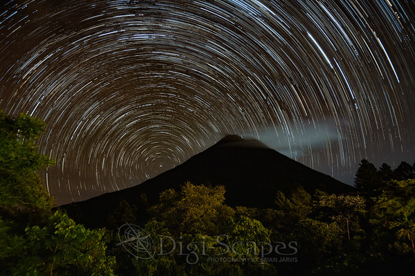 Star Trails over Arenal Volcano