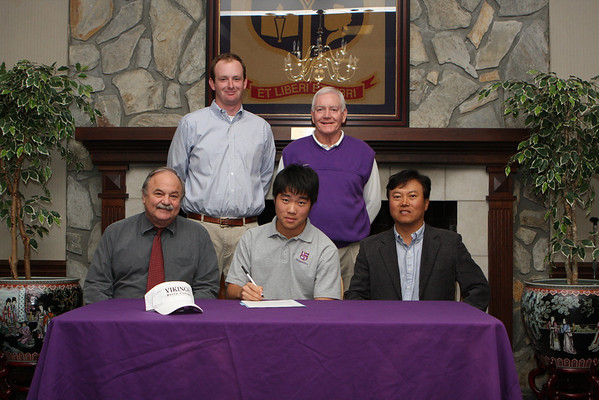 Left to Right (top) Berry Golf Coach Brian Farrer, Darlington Athletic Director Jerry Sharp, (bottom) Darlington Golf coach Raymond Murray, Tim Kim and father Jack Kim. - RuthAnne Anderson RNT