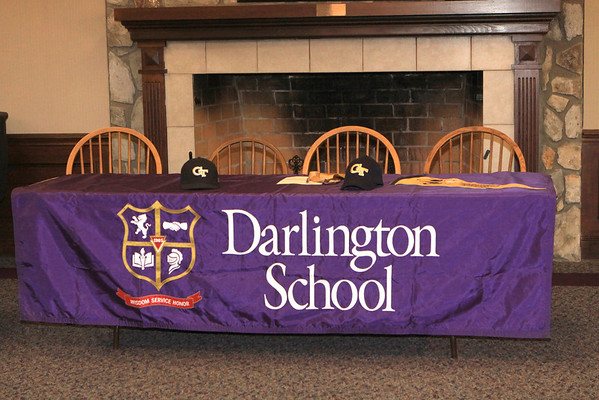 Darlington Senior Cole Miller signs with GA Tech 11-11-11 at 11:11AM  Left to Right back row: Brant Evans, Chad Woods, Norris Allen, Piching coach Charles Culberson, Kent Harrison, Richard Hendricks. Front Row: Garrett Miller, Lynda Miller, Cole Miller, Doug Miller