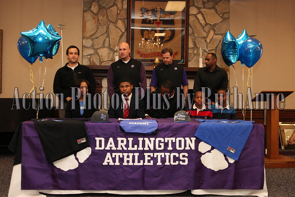Darlington Sports Signing: Front Row Left to Right: Altheia Green (mom), Nigel Matthews, Michael Green (dad), Christopher Jackson, & Daniel Jackson (brothers)  Top Row, coaches: Mike Pope, Tommy Atha, Kevin Hunt and Warren Gibson