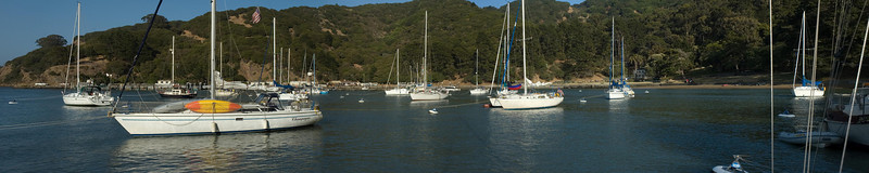 Pano of the boats moored in Ayala Cove