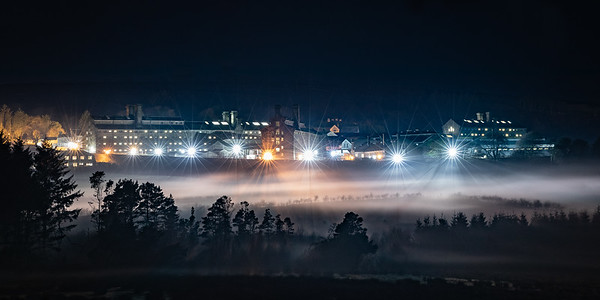 HM Prison Dartmoor on a misty winters night
