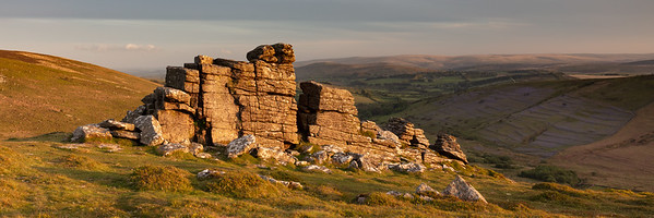 Sunset On Hookney Tor and the Bluebell covered Challacombe Medieval Field systems