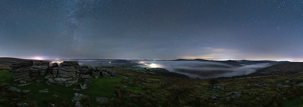 The Winter Milky Way over Combstone Tor and the Upper Dart Valley (Panoromaic)