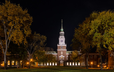 Baker Tower Goes Green on Dartmouth Night