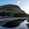 A reflection in a puddle of water of the eastern side of Benbulbin Mountain in Co Sligo