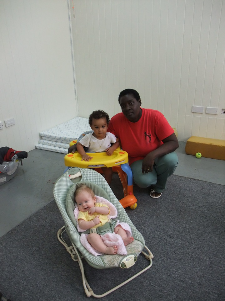At daycare with Ms. Dolores and Michael.