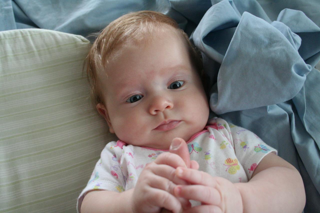 Mommy's finger is so interesting now...