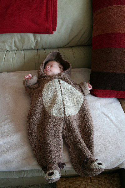 In my moose outfit that daddy got me - it's way too big...