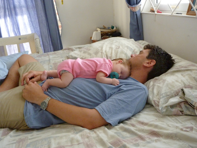 Spending nap time with Daddy
