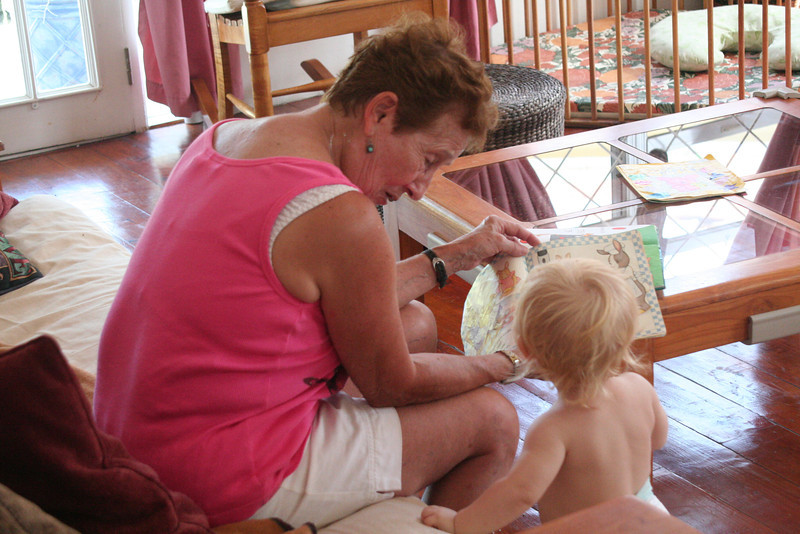 Reading with Grandma during her visit