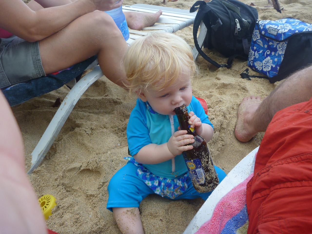 yep, she's Grenadian - already drinking Carib