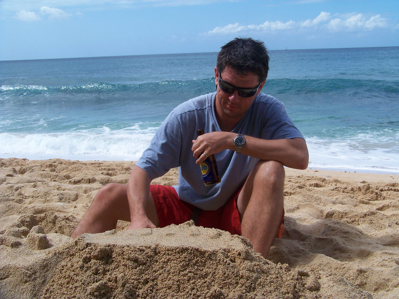 Daddy making a sand castle