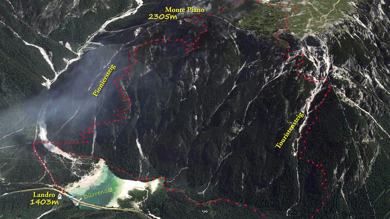 Wir wählen den Weg Nr. 6, den Pionierweg, als Aufstiegsroute und steigen über den ,Touristensteig'  ab. Es wurde eine 5 Stundentour mit 900 Höhenmetern.