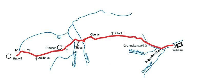 Die Strecke Willisau–Huttwil (eine Strasse über Gettnau–Zell gab es damals nicht)