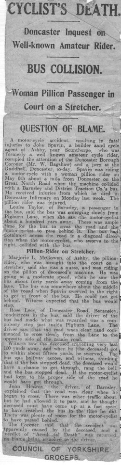 John Spavin (Grandfather?) motorbike accident
