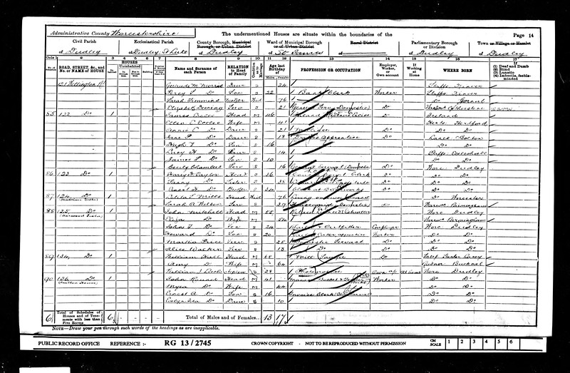 1901 census for James Eccles and family.