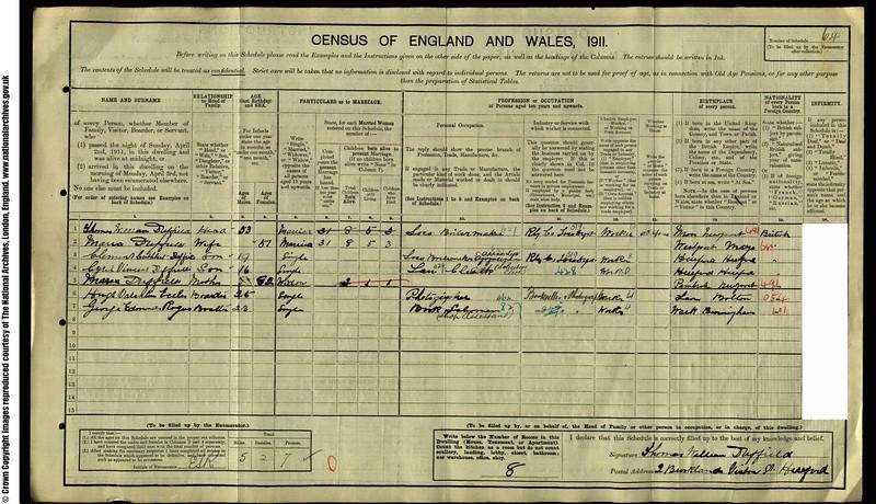 1911 Census for Hugh Eccles