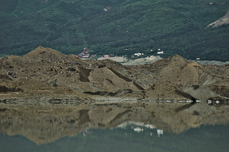 Looking across the lower stretch of the glacier we can see the Kennecott mine, about 5 miles away.