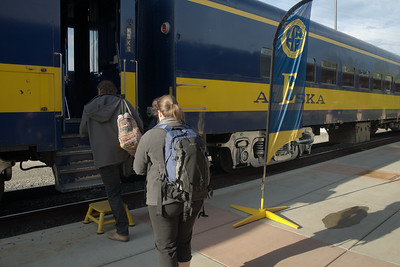 Boarding the train in Fairbanks.