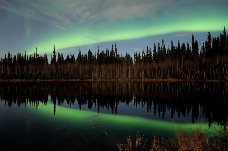 Aurora reflection at Red Squirrel Lake camera settings for aurora: Camera: Nikon D90 ISO: 640 f/stop: 3.5 shutter speed: 30 deconds