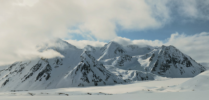 Looking across the Black Rapids Glacier into the Loket Tributary.