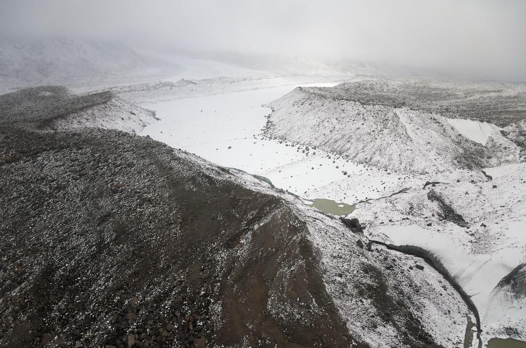 Landslide debris on the Black Rapids Glacier