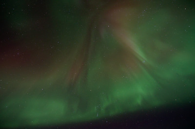 Aurora filling the sky - you can see the constellation Orion, bottom center. Taken on Murphy Dome - February 2012