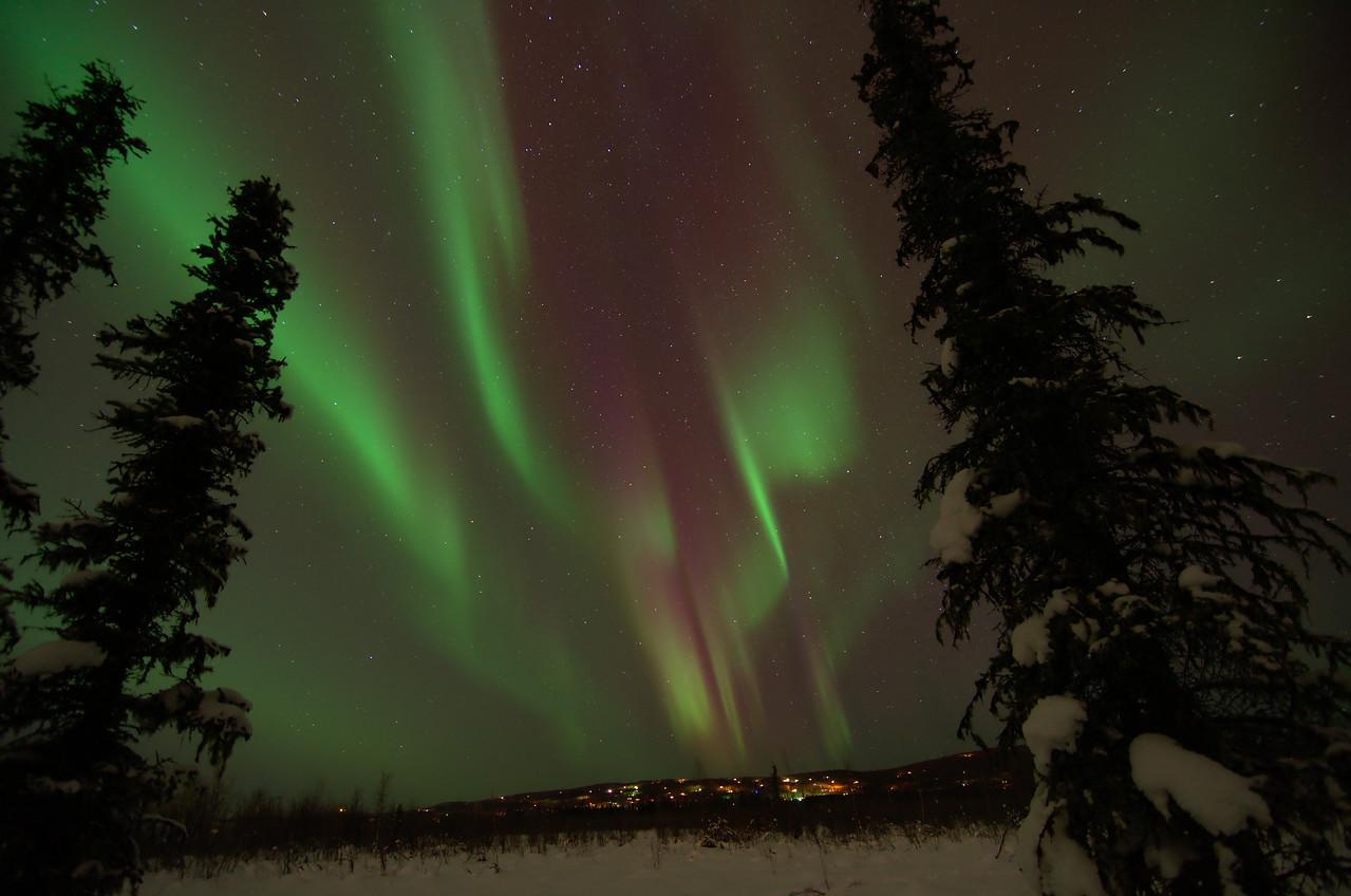 aurora borealis over the Goldstream Valley in Fairbanks