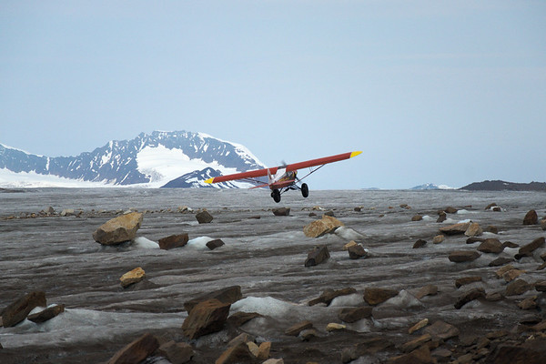 """The supercub taking off from the """"airstrip"""" near our summer campsite."""