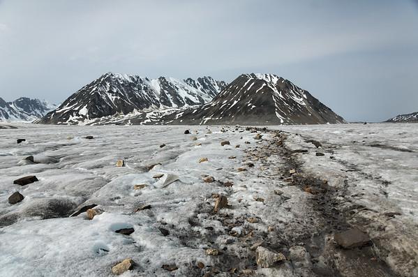 A small bit of rocky moraine on the Black Rapids Glacier