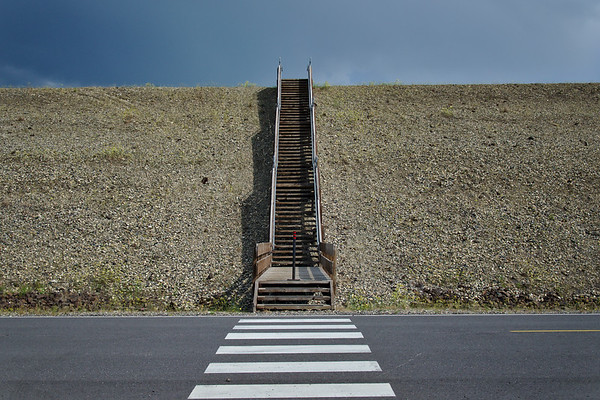 Stairs up the levy built for the Chena River Flood Control Project.