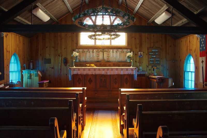The interior of St. Mark's Episcopal Church in Nenana, Alaska.