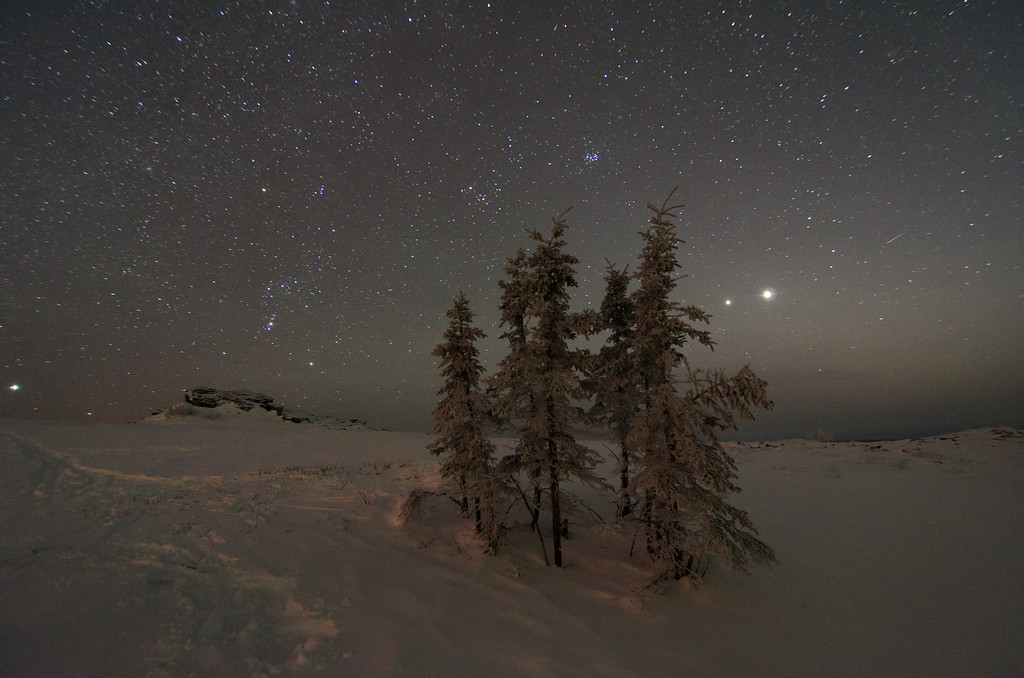Night falls on Murphy Dome outside Fairbanks, Alaska just a few days before the conjuction of Jupiter and Venus (right of the trees). The next conjunction of these two planets will occur August 18, 2014 - just as it's getting dark enough to see them from the Alaska Interior! (Photo - March 2012)