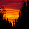 Burning sunrise over Fairbanks, Alaska