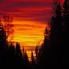 Burning sunrise over Fairbanks, Alaska